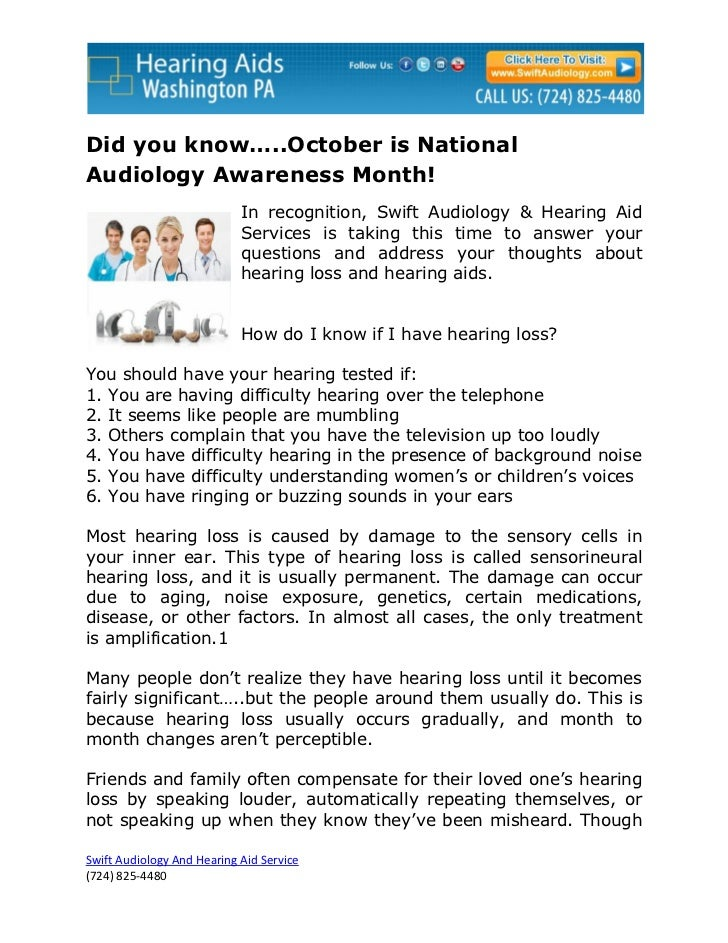 Did you know…..October is NationalAudiology Awareness Month!                            In recognition, Swift Audiology & ...