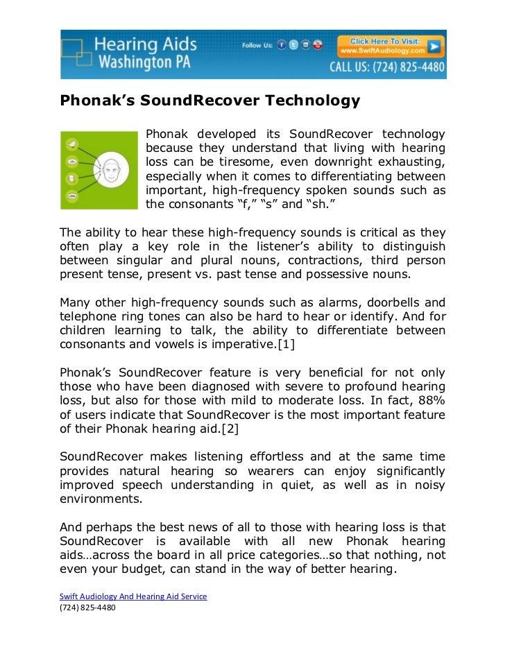 Phonak's SoundRecover Technology                      Phonak developed its SoundRecover technology                      be...