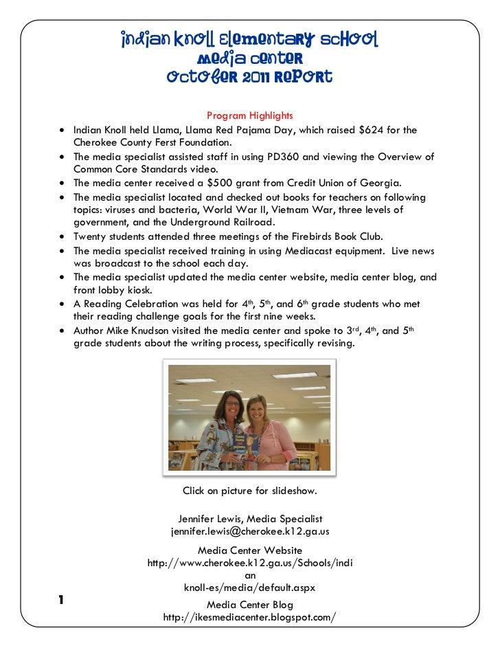 Indian Knoll Elementary School                       Media Center                    October 2011 Report                  ...