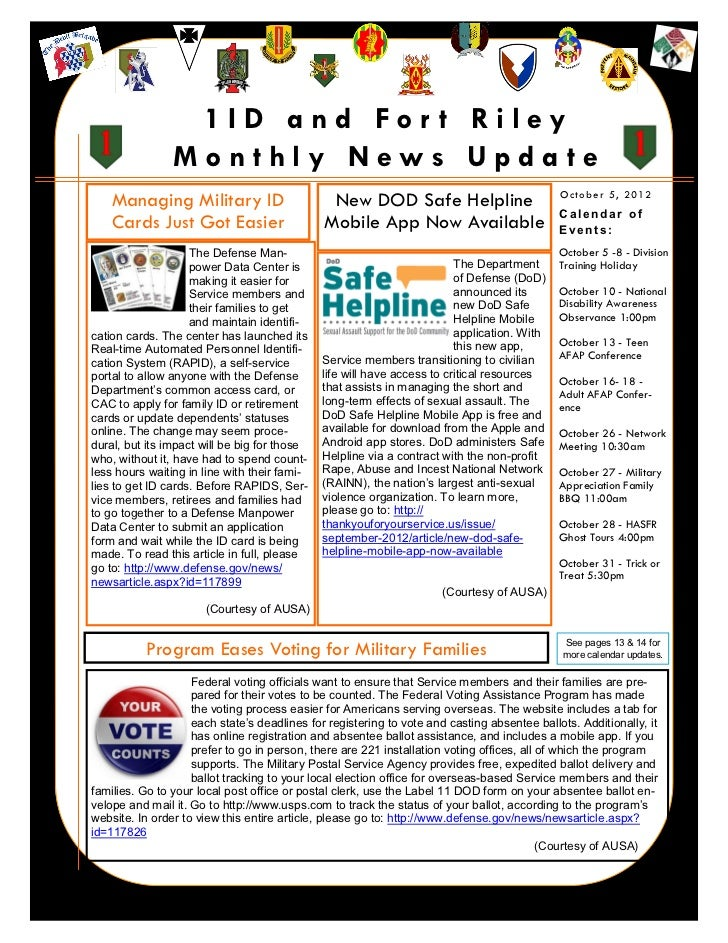 1ID and For t Riley                    Monthly News Update        Managing Military ID                       New DOD Safe ...