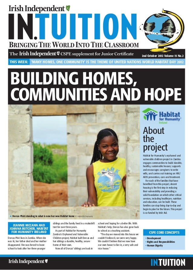 2nd October 2012 Volume 15 No.2 THIS WEEK: 'MANY HOMES, ONE COMMUNITY' IS THE THEME OF UNITED NATIONS WORLD HABITAT DAY 20...