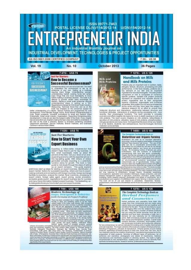 ENTREPRENEUR INDIA, OCTOBER 2013 1Visit us at : www.niir.org