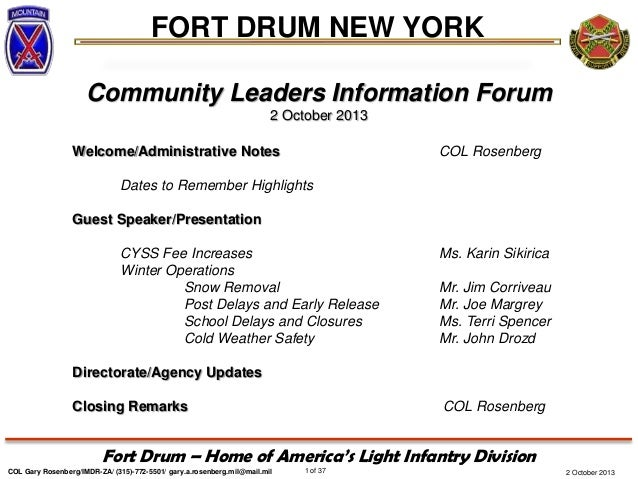 FORT DRUM NEW YORK COL Gary Rosenberg/IMDR-ZA/ (315)-772-5501/ gary.a.rosenberg.mil@mail.mil 1 of 37 Fort Drum – Home of A...