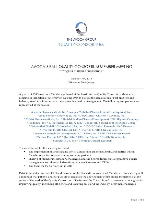 "AVOCA'S FALL QUALITY CONSORTIUM MEMBER MEETING   ""Progress  through  Collaboration""   	    October  10th,  2013   P..."