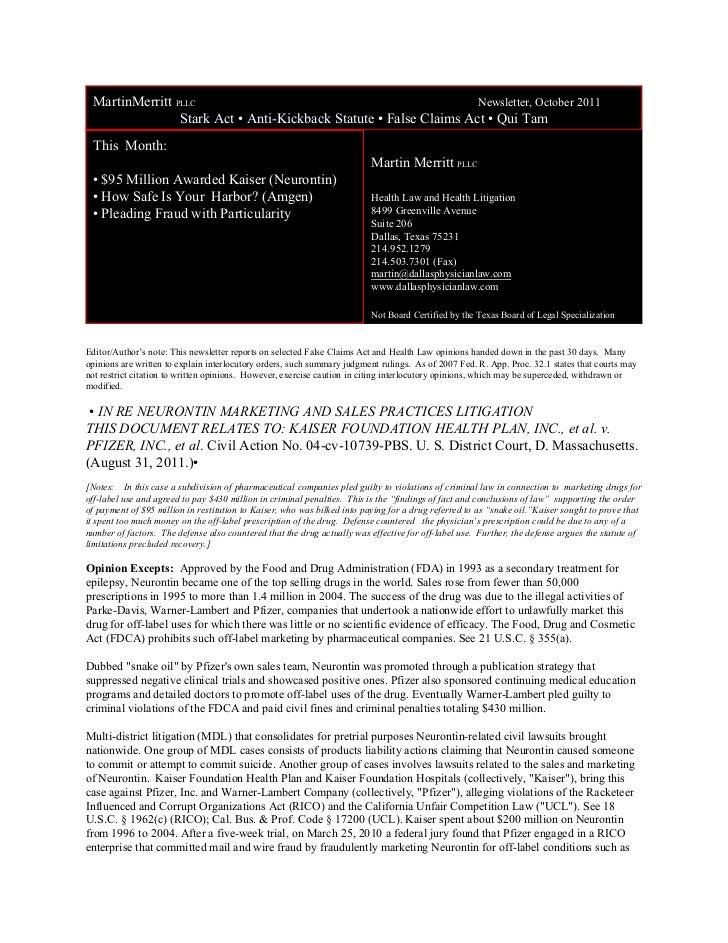 MartinMerritt PLLC                                                Newsletter, October 2011                Stark Act • Anti...