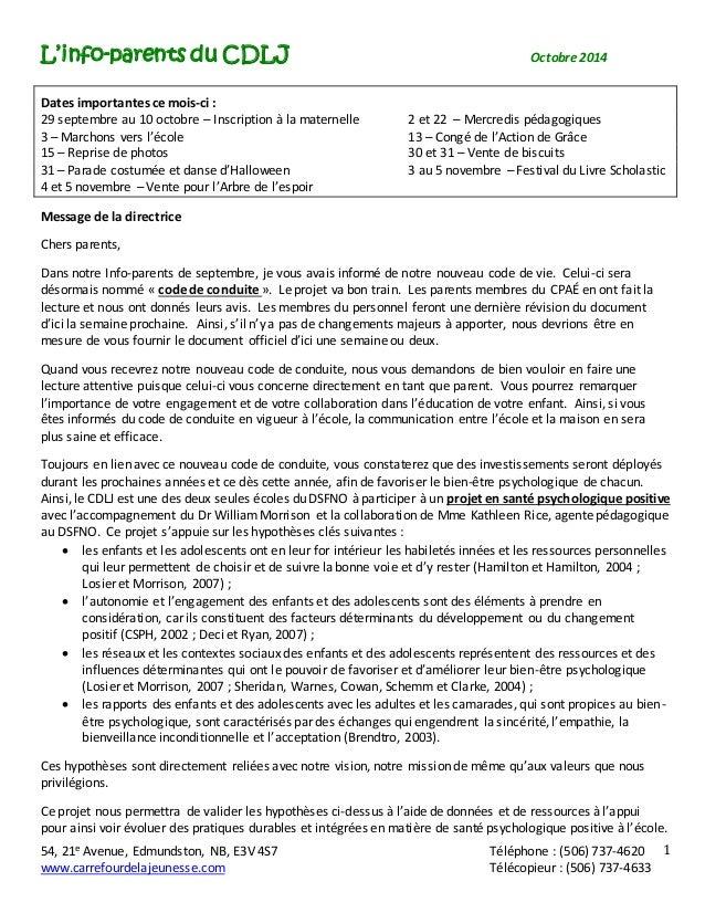 L'info-parents du CDLJ Octobre 2014  Dates importantes ce mois-ci :  29 septembre au 10 octobre – Inscription à la materne...