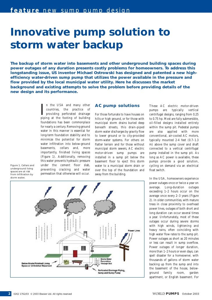 feature new sump pump design       Innovative pump solution to     storm water backup     The backup of storm water into b...