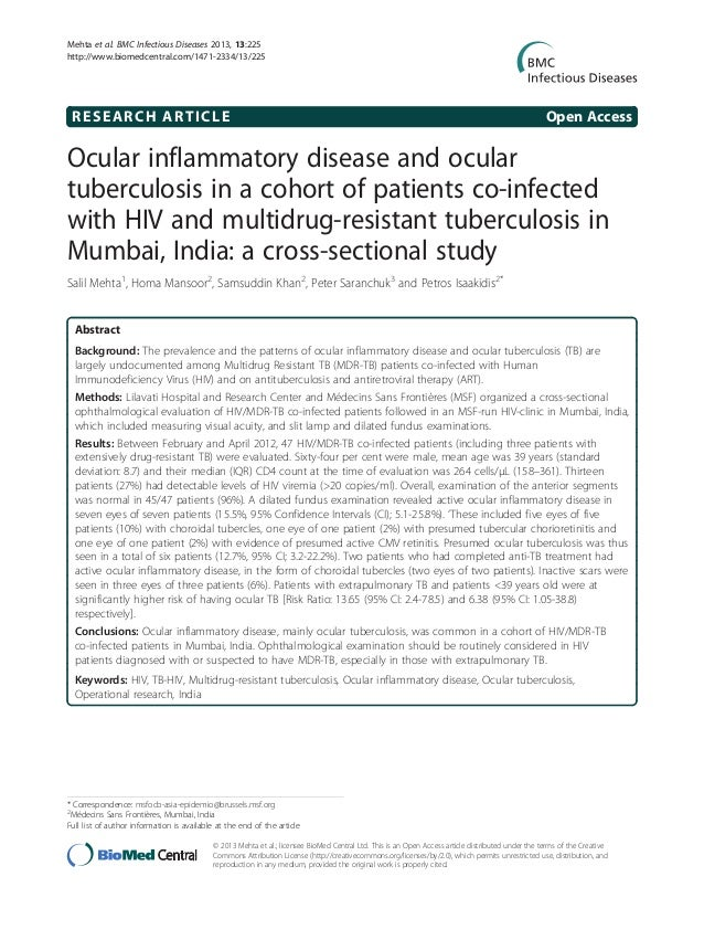Ocular inflammatory disease and ocular tuberculosis in a cohort of patients co-infected with HIV and multidrug-resistant tuberculosis in Mumbai, India: a cross-sectional study