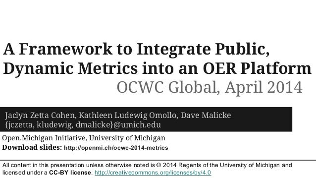 OCWC Global 2014 - A Framework for Publicly Sharing Dynamic Metrics on OER Platform