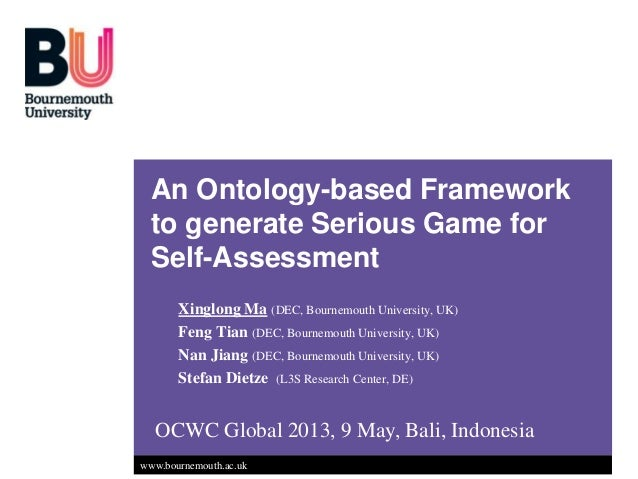 OCWC Global Conference 2013: An Ontology-based Framework to generate Serious Game for Self-Assessment