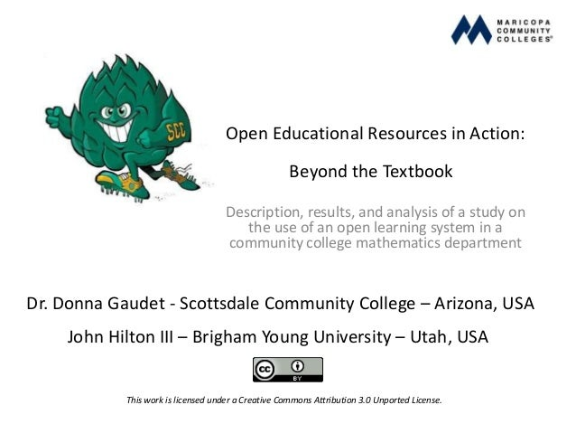Open Educational Resources in Action:Beyond the TextbookDescription, results, and analysis of a study onthe use of an open...