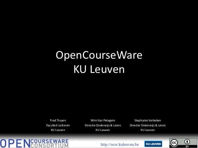 OpenCourseWare at KU Leuven