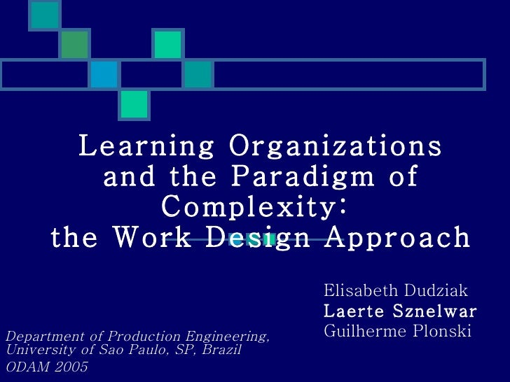 Learning Organizations and the Paradigm of Complexity:  the Work Design Approach Department of Production Engineering, Uni...