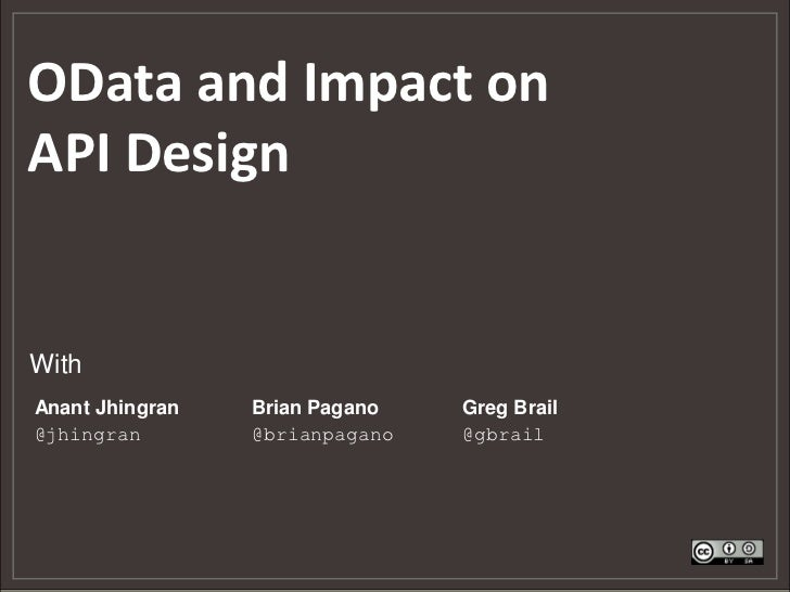 OData Introduction and Impact on API Design (Webcast)