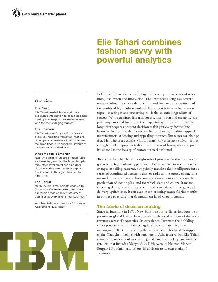 IBM Retail Case Study | Elie Tahari benefits from Real-Time Analytics