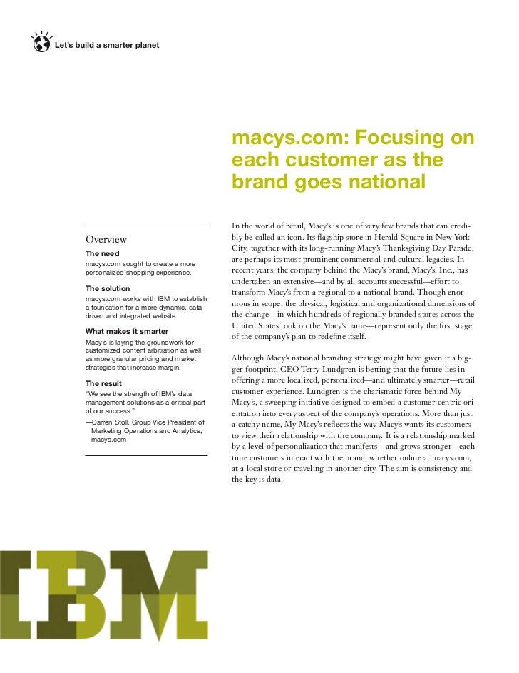 macys.com: Focusing on                                          each customer as the                                      ...