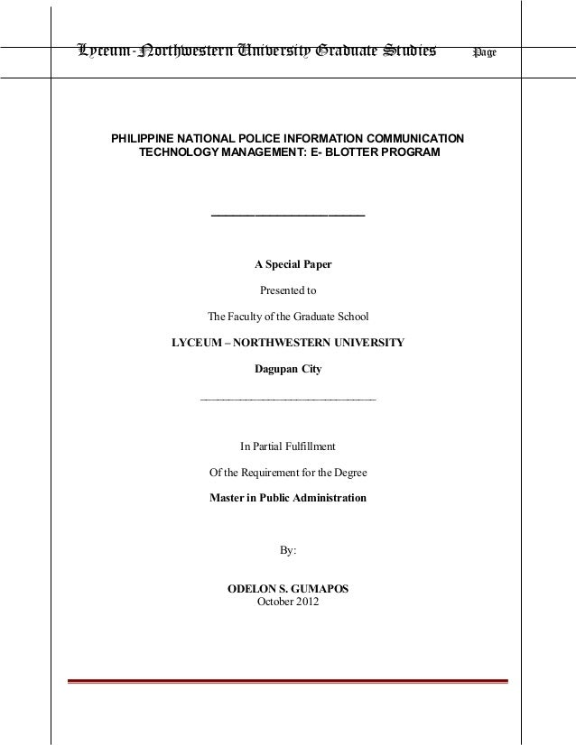 PNP Information Communication Management: e-Blotter Program
