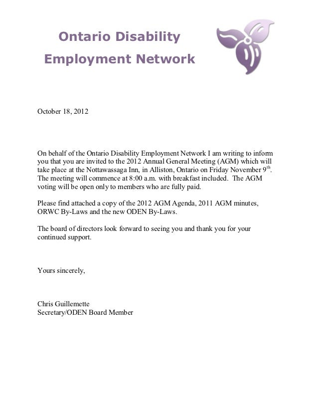 Ontario Disability  Employment NetworkOctober 18, 2012On behalf of the Ontario Disability Employment Network I am writing ...