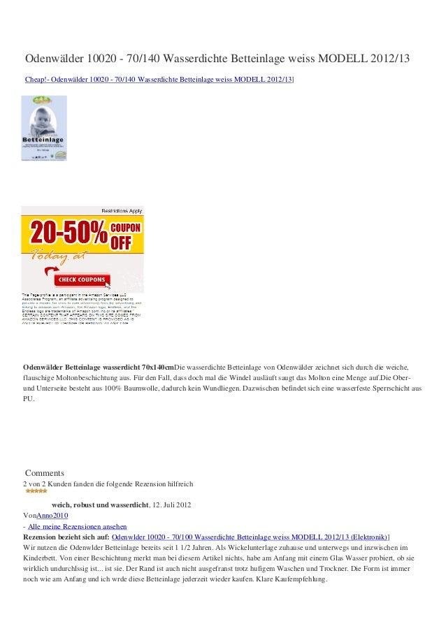 Odenwälder 10020 - 70/140 Wasserdichte Betteinlage weiss MODELL 2012/13Cheap!- Odenwälder 10020 - 70/140 Wasserdichte Bett...