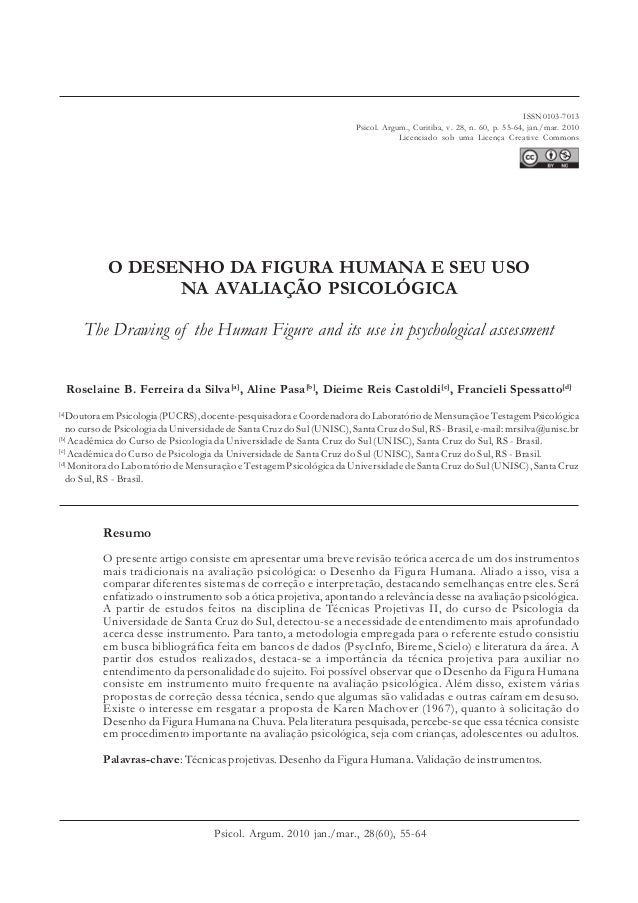 O DESENHO DA FIGURA HUMANA E SEU USO NA AVALIAÇÃO PSICOLÓGICA TÍTULO The Drawing of the Human Figure and its use in psycho...