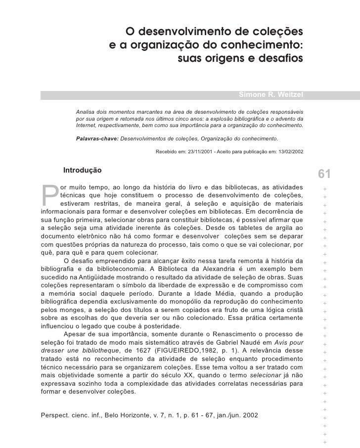 O desenvolvimento de coleções                         e a organização do conhecimento:                                    ...