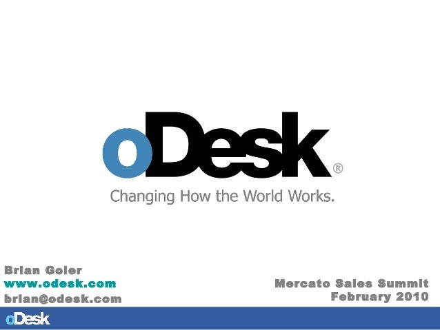 QuickTime™ and a None decompressor are needed to see this picture. Brian Goler www.odesk.com brian@odesk.com Mercato Sales...