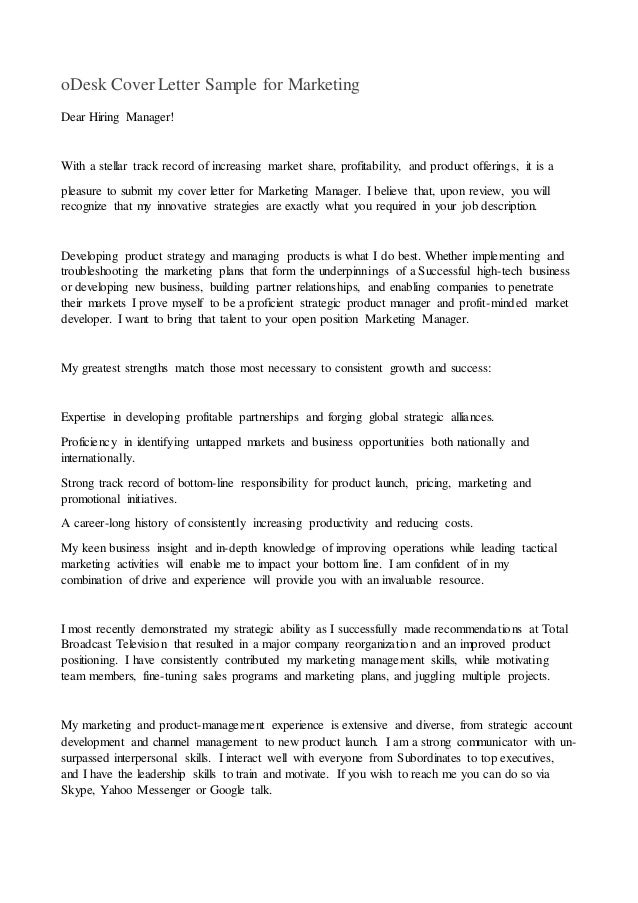 Odesk cover letter sample for marketing for How to write a stellar cover letter