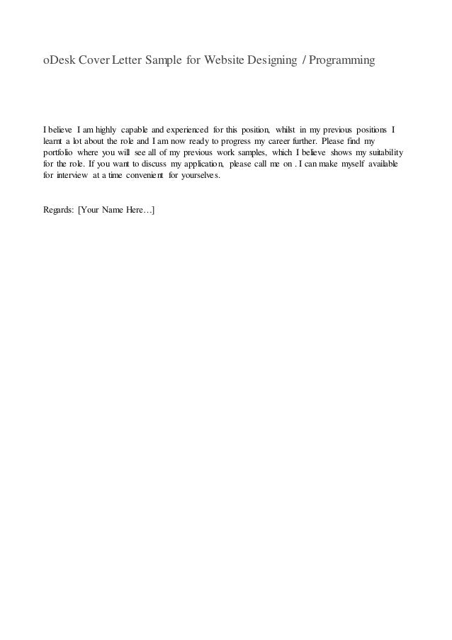 web designer cover letter for odesk Web developer cover letter for odesk, odesk cover lette.