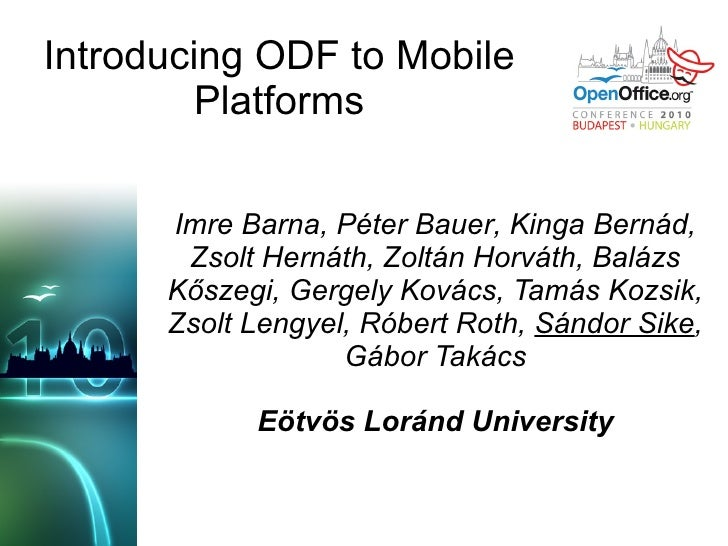 Introducing ODF to mobile platforms