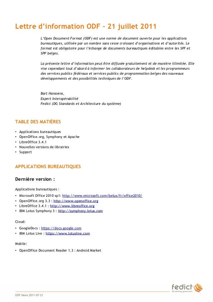 Lettre d'information ODF – 21 juillet 2011                     L'Open Document Format (ODF) est une norme de document ouve...