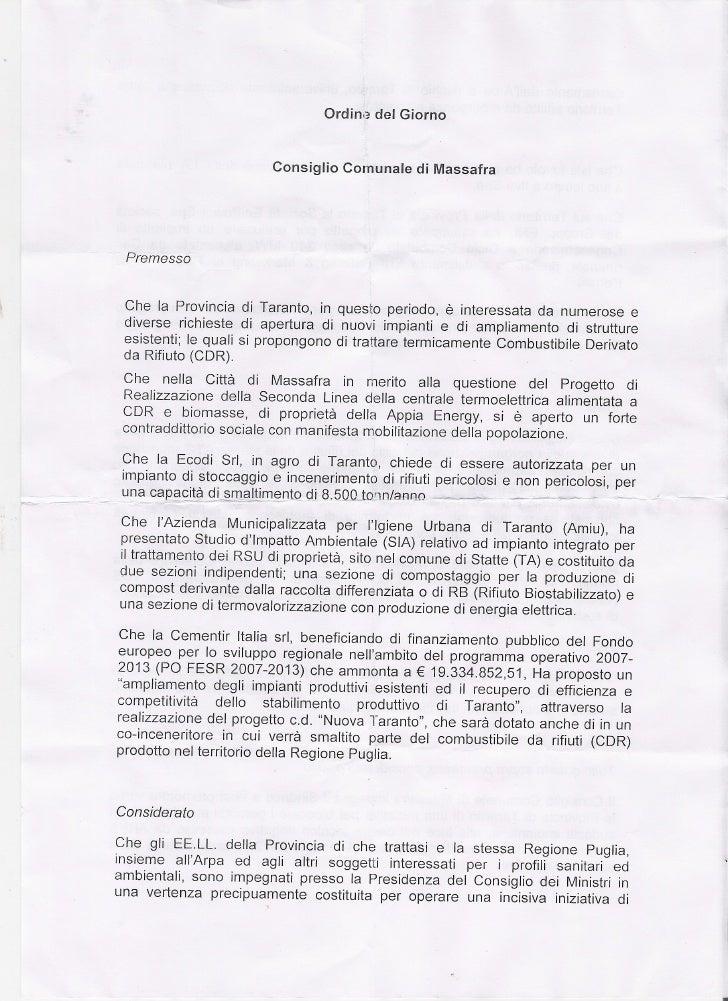 Odg  Presentato dal Pd , UDC e CC al consiglio comunale del 4 Luglio 2012