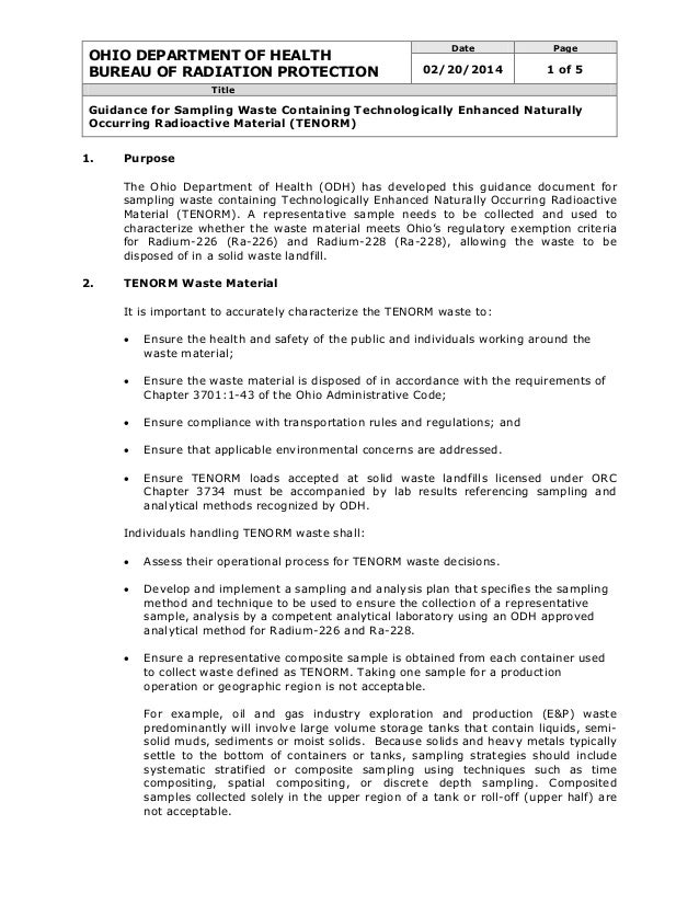 OHIO DEPARTMENT OF HEALTH BUREAU OF RADIATION PROTECTION Date Page 02/20/2014 1 of 5 Title Guidance for Sampling Waste Con...
