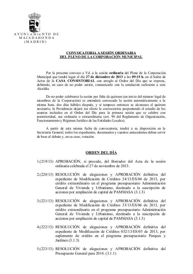 AYUNTAMIENTO DE MAJADAHONDA (MADRID)  CONVOCATORIA A SESIÓN ORDINARIA DEL PLENO DE LA CORPORACIÓN MUNICIPAL  Por la presen...