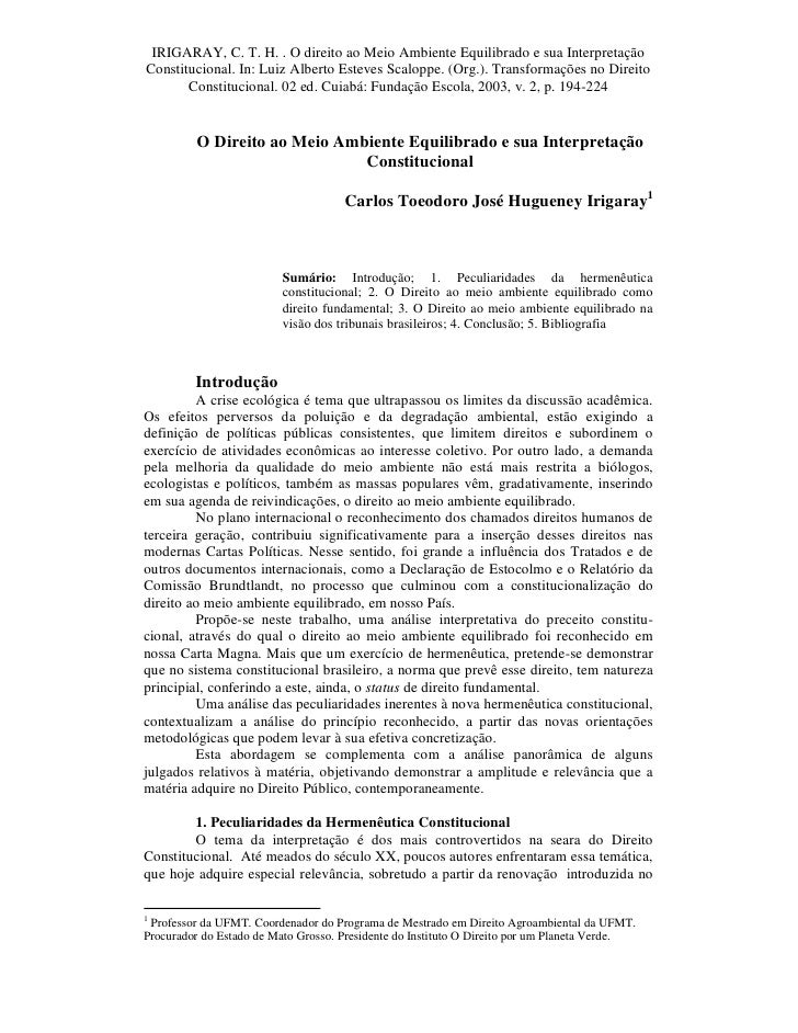 IRIGARAY, C. T. H. . O direito ao Meio Ambiente Equilibrado e sua InterpretaçãoConstitucional. In: Luiz Alberto Esteves Sc...