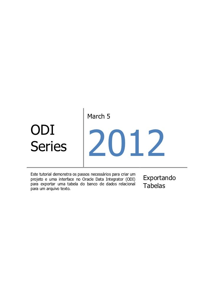 ODI Series -  Exportar Tabelas para Arquivo Texto