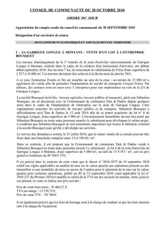 CONSEIL DE COMMUNAUTE DU 28 OCTOBRE 2010 ORDRE DU JOUR Approbation du compte-rendu du conseil de communauté du 30 SEPTEMBR...