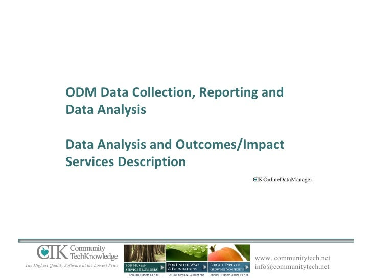 ODM Data Collection, Reporting and Data Analysis Data Analysis and Outcomes/Impact Services Description