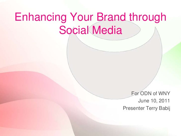 Enhancing Your Brand through Social Media<br />For ODN of WNY<br />June 10, 2011<br />Presenter Terry Babij<br />