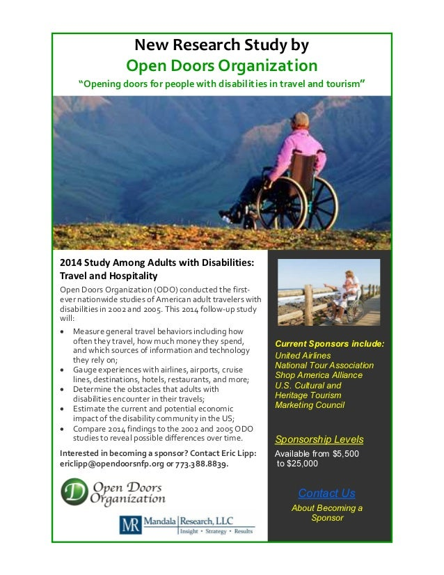 """New Research Study by Open Doors Organization """"Opening doors for people with disabilities in travel and tourism""""  2014 Stu..."""