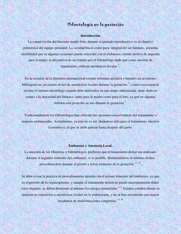 Odontología en la gestación<br />IntroducciónLa conservación del binomio madre-feto, durante el período reproductivo, es e...