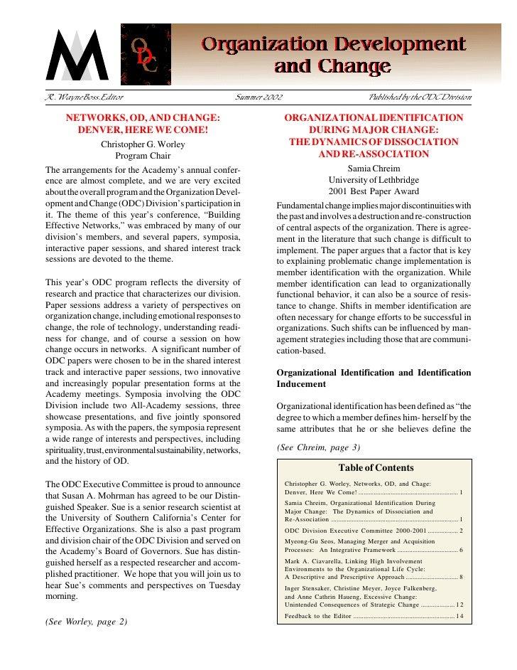 ACADEMY OF MANAGEMENT                          ODC NEWSLETTER                               Organization Development and C...