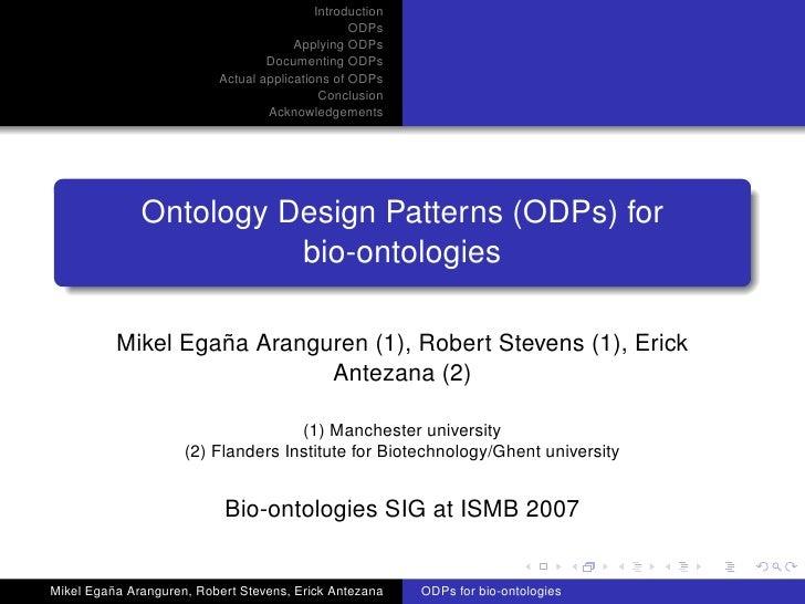 Ontology Design Patterns (ODPs) for bio-ontologies
