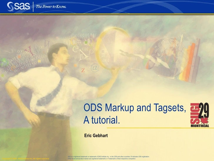 ODS Markup and Tagsets, A tutorial. Eric Gebhart