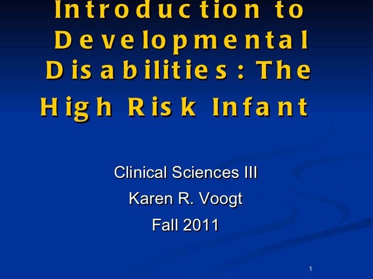 Introduction to Developmental Disabilities: The High Risk Infant   <ul><li>Clinical Sciences III </li></ul><ul><li>Karen R...