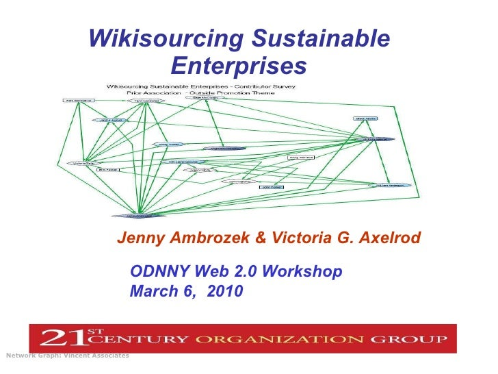 Wikisourcing Sustainable Enterprises Network Graph: Vincent Associates   ODNNY Web 2.0 Workshop  March 6,  2010 Jenny Ambr...