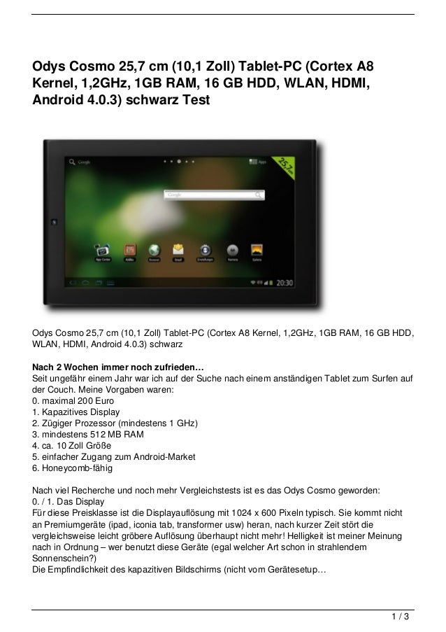 Odys Cosmo 25,7 cm (10,1 Zoll) Tablet-PC (Cortex A8Kernel, 1,2GHz, 1GB RAM, 16 GB HDD, WLAN, HDMI,Android 4.0.3) schwarz T...