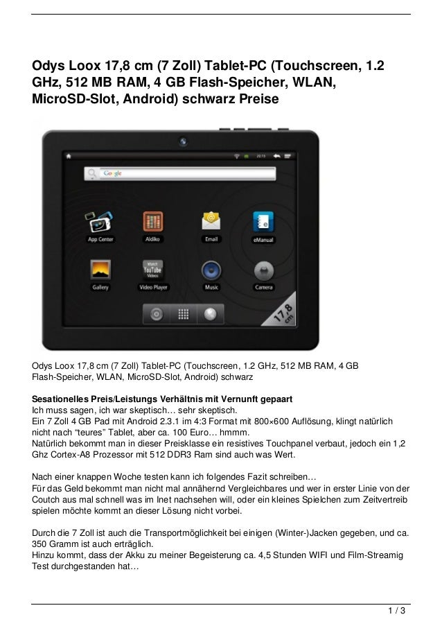 Odys Loox 17,8 cm (7 Zoll) Tablet-PC (Touchscreen, 1.2GHz, 512 MB RAM, 4 GB Flash-Speicher, WLAN,MicroSD-Slot, Android) sc...