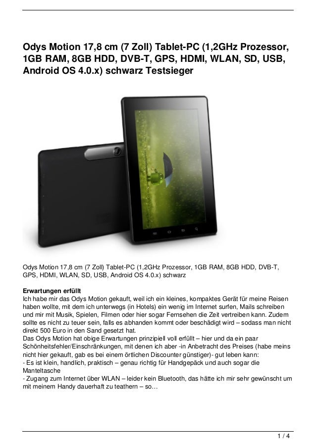 Odys Motion 17,8 cm (7 Zoll) Tablet-PC (1,2GHz Prozessor,1GB RAM, 8GB HDD, DVB-T, GPS, HDMI, WLAN, SD, USB,Android OS 4.0....