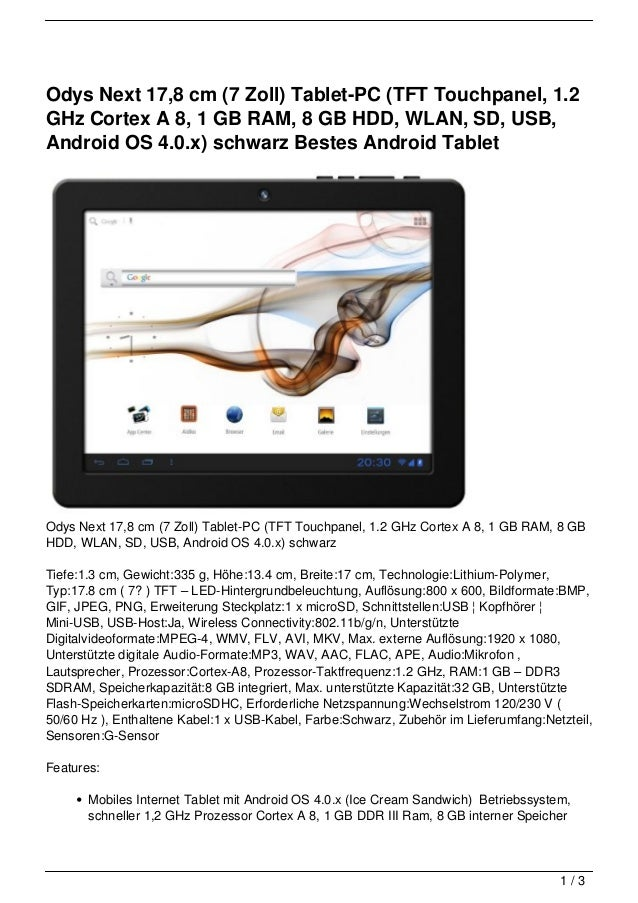 Odys Next 17,8 cm (7 Zoll) Tablet-PC (TFT Touchpanel, 1.2GHz Cortex A 8, 1 GB RAM, 8 GB HDD, WLAN, SD, USB,Android OS 4.0....