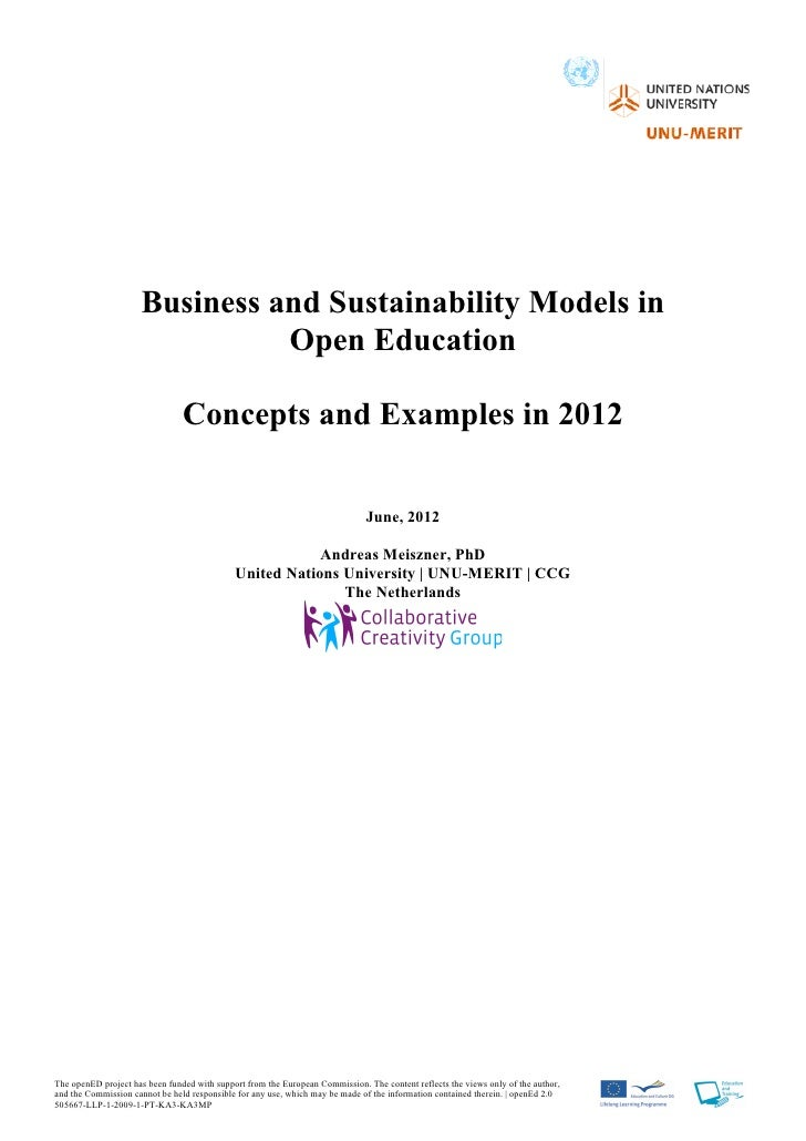 Business and Sustainability Models in Open Education: Concepts and Examples in 2012